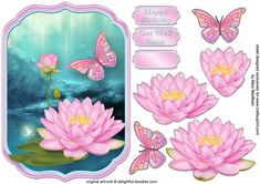 Pink Lotus Shaped Topper on Craftsuprint designed by Mary MacBean - Shaped card topper with decoupage featuring pink lotus flowers and a butterfly on a pretty background. There are Happy Birthday and Get Well soon sentiments or a blank tag for your own greeting.  - Now available for download!