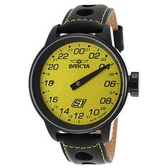 Invicta s1 Rally 48mm Yellow Dial Leather Strap Racing Tour... (605 BRL) ❤ liked on Polyvore featuring men's fashion, men's jewelry, men's watches, invicta mens watches, mens chronograph watches and mens leather strap watches