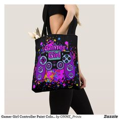 Shop Gamer Girl Controller Paint Colourful Fun Tote Bag created by ONME_Prints. Shopping Bag Design, Shopping Bags, Best Tote Bags, Game Design, Colorful Backgrounds, Fancy, Shoulder Bag, Paint, Purple