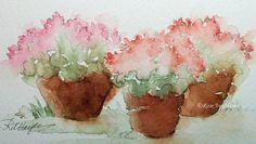 Original Watercolor Painting Flowers in Flower Pots Floral Pink Chrysanthemums