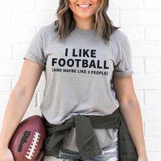 I Like Football, and Maybe Like 3 People Tee - The Stadium Chic. Grey, heather grey, anti-social, women, feminine, football, American football, T-shirt, tee, graphic tee, football mom, gift, NFL, trendy, chic. Football Outfits, Speak The Truth, Anti Social, American Football, Like Me, Heather Grey, What To Wear, Nfl, Graphic Tees