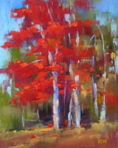 Red Tree Pastel Painting by Karen Margulis