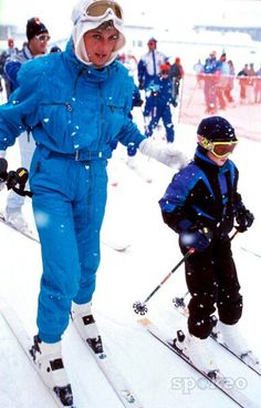 Princess Diana skiing with her son