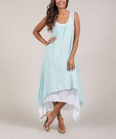 This Green Mint & White Crochet-Racerback Maxi Dress by La Belle Hélène is perfect! #zulilyfinds