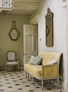 The settee, the antique barometer, the floor; love it all.