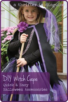 Halloween Witch Costume Part Fleece CapeWondering how to make the tutus? Check out Halloween Witch Costume Part Tulle Tutu Tutorial. To find out more about the other accessories we used, check out Halloween Witch Costume Part Bewitching Accessories. Kids Witch Costume, Diy Halloween Ghosts, Halloween Bath Bombs, Diy Halloween Costumes For Kids, Halloween Costume Accessories, Witch Tutu, Halloween Party, Devil Costume, Halloween 2016