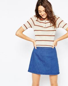 ASOS Polo Top In Knitted Stripe