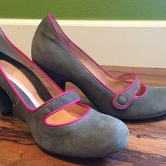 Grey sueded pumps with bright pink piping Beautiful gray heels with bright pink piping and  strap button accent. Made in Italy. Purchased from another wonderful posher and sadly they did not fit :( Fornarino Shoes Heels