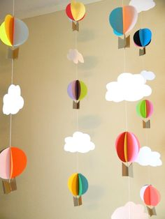 Up Up and Away Birthday Decorations / Hot air Balloon Decorations / 3D Paper Air Balloons / DIY Nursery Mobile- your color choices