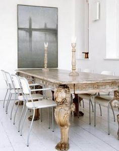Haus Design: White, Gray And Gold All Over - - check out the table legs: I love to see the unexpected in a minimalist room!