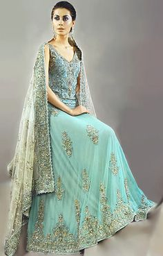 BW8287 Crystal Blue & Sherbet Green Lehenga Blue top with bead work, long skirt hand embellished skirt flows nicely Bridal Wear