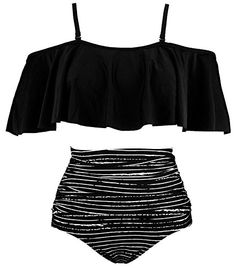Amazing offer on COCOSHIP Women's Ruffled Bikini Set Off Shoulder Flounce Falbala Top Tiered Ruched High Waist Swimsuit(FBA) online - Welovefashion Swimsuits For Teens, Cute Swimsuits, Women Swimsuits, White Swim Shorts, Girls Bathing Suits, Casual Skirt Outfits, Black Swimsuit, Swimwear Fashion, Bikini Fashion