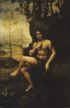 St. John the Baptist by Leonardo transformed into God of wine & debauchery Bacchus by an unknown artist.  Medium: Tempera and oil on panel (transferred to canvas)  Size 177 x 115 cm  Location Musée du Louvre