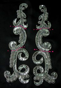 LR146 XL Mirror Pair Sequin Bead Applique Silver for Dancewear [LR146] - $9.50 : Angeltrim supply sequin bead applique, venice applique, chinese frog button, trim lace, hotfix rhinestone,garment accessories