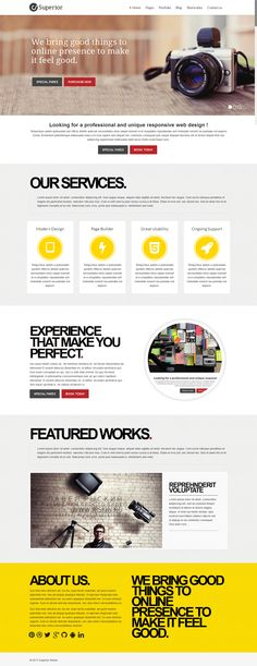 Superior WordPress Theme. A clean and simple Website home page for business and other type website.