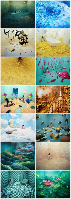 Korean artist Jee Young Lee's beautiful dreamscapes are living proof that you don't need Photoshop or even a large studio space to create amazing surreal images. She creates all of these scenes by hand in a room that is only 3.6 x 4.1 x 2.4 meters and then inserts herself into the pictures. Some of these self portraits represent her own experiences, dreams and memories, while others represent traditional Korean folk tales and legends.