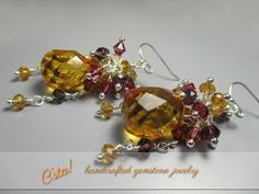 Statement Earrings - Elegant Sterling Silver Yellow Citrine Amethyst Rhodolite Garnet Swarovski Cluster Dangle Earrings