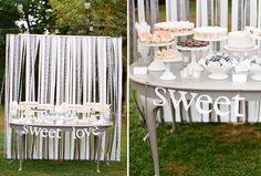 Sweet station ribbon backdrop - love the whole display! #dessert bar