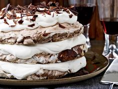 Hazelnut-and-Chocolate Meringue Cake | This extraordinary dessert, made with crisp chocolate-hazelnut meringue and whipped cream, is simple to make. But pastry chef Daniel Jasso of Portland...