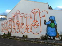 one, a graffiti and street-art artist from Cape Town (ZA). Graffiti Art, Grafitti Street, Street Wall Art, Street Art Love, Best Street Art, Street Style, Cape Town South Africa, Outdoor Art, Chalk Art