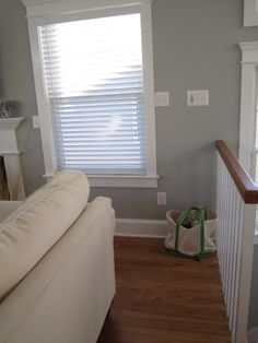Sherwin Williams Morning Fog (Swoon Style and Home) Really love this wall color  With the white wood accents