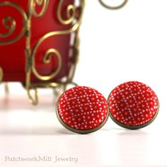 Holiday Red Stud Earrings - Christmas Earring Studs - Fabric Covered Buttons Earrings Jewelry - Yellow Dots Xmas Earring Posts #earrings #Christmas #giftforher #gift  #quilter #Xmas #jewelry