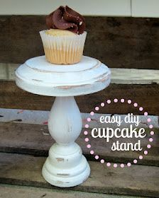 Easy Cupcake/Mini Cake Stand; love the distressed look