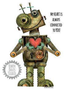 "Valentine Print -8""x10"" - Robot Art print - My heart is always connected to YOU -  Robot Wall Art - Robot poster - Robin Davis Studio"