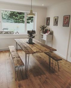 Industrial Reclaimed Timber Scaffold Board, Retro Dining Set on Vintage Hairpin Legs Hairpin Leg Dining Table, Reclaimed Dining Table, Diy Dining Room Table, Reclaimed Wood Benches, Diy Wood Bench, Wood Table, Timber Dining Table, Reclaimed Kitchen, Retro Dining Table
