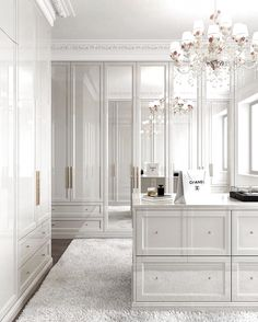 All white closet. Yes or no? Walk In Closet Design, Bedroom Closet Design, Home Room Design, Closet Designs, Dream Home Design, Bedroom Decor, Master Bedroom, Dressing Room Decor, Dressing Room Closet