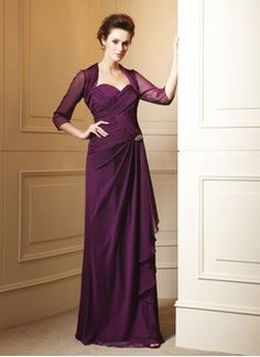 Sheath/Column Sweetheart Floor-Length Chiffon Mother of the Bride Dress With Ruffle Crystal Brooch Cascading Ruffles
