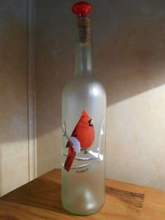 Hand Painted Bottle  Red bird in the snow by TwistedSistaGifts, $29.99
