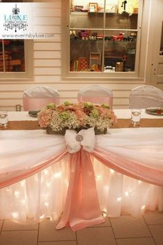 Soft pink and green wedding head table, wedding flower box, pink wedding head table decor, wedding head table with lights, pastel wedding decor plz repin, like or follow!