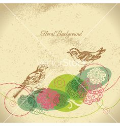 Retro floral background with bird vector on VectorStock®