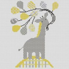 This is a counted cross stitch pattern of a pastel coloured patterned giraffe holding balloons, perfect for hanging in a nursery.(Like the pattern but