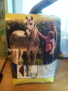 Horse feed bag upcycled into a purse.