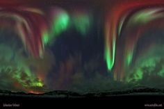 A Full Sky Aurora Over Norway (Jan 3 2012)  Image Credit & Copyright: Sebastian Voltmer Higher than the highest building, higher than the highest mountain, higher than the highest airplane, lies the realm of the aurora. Auroras rarely reach below 60 kilometers, and can range up to 1000 kilometers. Aurora light results from energetic electrons and protons striking molecules in the Earth's atmosphere. #astronomy
