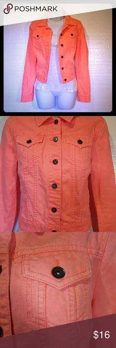 """JCP Denim Jacket Color looks almost neo pink, but takes on a peachier color in certain lights. Sleeves measure approx 18"""" inseam. Back of jacket measures just over 18"""" Length not including collar. JCP Jackets & Coats Jean Jackets"""