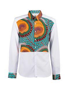 www.cewax a selectionné pour vous ces vêtements hommes ethniques, Afro tendance, Ethno tribal Men's fashion, african prints fashion - Men's African print shirt-White colour block