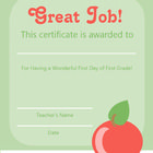 This first day of first grade certificate is a wonderful incentive for your students to try their best this school year!!...