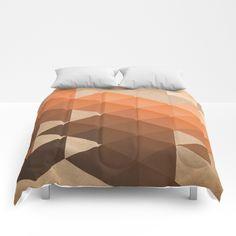 Warm Brown - Geometric Triangle Pattern Comforters by pelaxy Triangle Pattern, King Queen, Comforters, Ottoman, Heaven, Sleep, Cozy, Touch