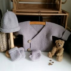 Knitting Pattern for Baby Layette for Beginners - Very easy pattern for baby set including wrap jacket, hat, booties, and mitts. Knit flat in garter stitch and shaped with increases and decreases. Sizes 0-3 months and 3-6 months