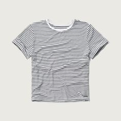 Abercrombie & Fitch Cropped Crew Tee ($8) ❤ liked on Polyvore featuring tops, t-shirts, white stripe, stripe tee, white crew neck t shirt, crew-neck tee, striped t shirt and striped tees