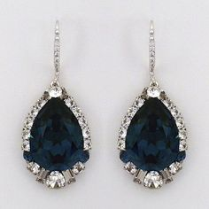Haute Bride Wedding & Cocktail Earrings.  Montana blue crystal teardrop earrings. Deco detail at the base makes these earrings unique.