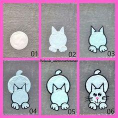 How to draw a cat! Gel Designs, Diy Nail Designs, Nail Drawing, Animal Nail Art, Nails For Kids, Face Painting Designs, Hand Art, Rhinestone Nails, Nail Tutorials