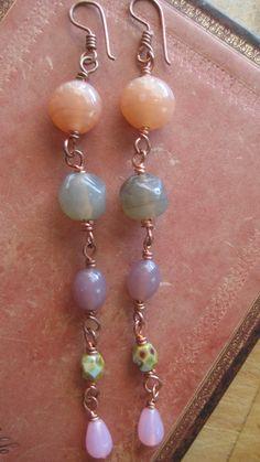 Long Beaded Earrings in Pink, Purple and Grey!!