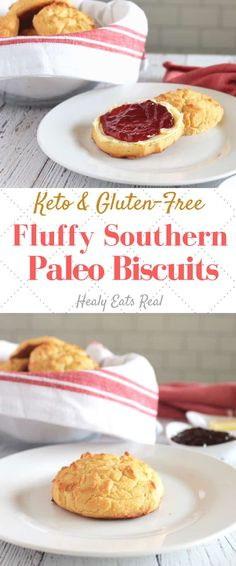 Southern Style Fluffy Paleo Biscuits (Keto & Low Carb)- These paleo biscuits are light and fluffy with soft undertones of butter and subtle hints of coconut. Better yet, they are keto and gluten free without skimping on flavor or texture! Spicy Recipes, Baby Food Recipes, Gluten Free Recipes, Mexican Food Recipes, Low Carb Recipes, Baking Recipes, Vegetarian Recipes, Dessert Recipes, Dinner Recipes