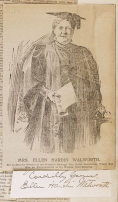 Mrs. Ellen Hardin Walworth portrait and autograph, a founder of the Daughters of the American Revolution, author,  [April 1898?].  Miller NAWSA Suffrage Scrapbooks, 1897-1911; Scrapbook 3; page 26. Library of Congress Rare Book and Special Collections.