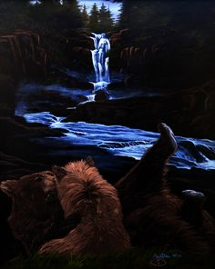 """For Sale: Bears playing by the river waterfall forest by Martha Seale   $500   30""""w 36""""h   Original Art   https://www.vangoart.co/marthasealeart/bears-playing-by-the-river-waterfall-forest @VangoArt"""