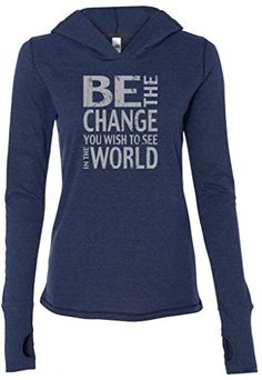 Ladies BE THE CHANGE TriBlend Hoodie Large Navy Heather ** To view further for this item, visit the image link.